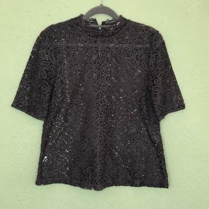 LOFT Tops - LOFT Navy Victorian Collar Lace Blouse XS